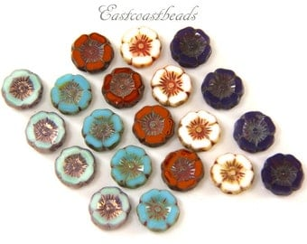 Hawaiian Flower Bead Mix,  Multi Colored Collection, Czech Glass Beads, 12mm, 20 Pieces