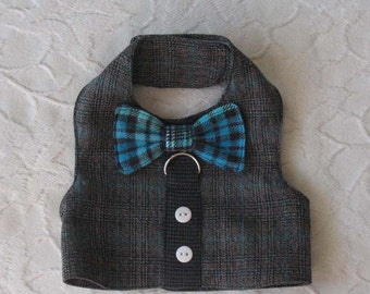 Boy Plaid Boardroom Executive Bow Tie Harness Vest Small