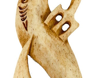 Hand Carved Bone XXL Maori Manaia with Scrimshaw (Two-Sided)