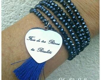Multi-turn Pearl or blue Necklace Bracelet