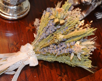 Wedding Bouquet, Dried Flower Bouquet, English Lavender Bouquet, Wildflower Bouquet - Can Be Made to Order