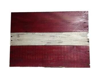 Latvian Flag - reclaimed wood (medium)