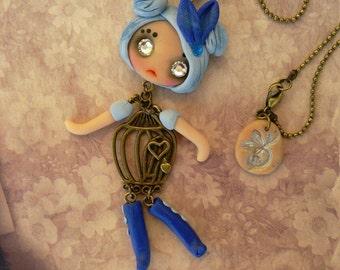 PuppetDoll Blue Bird Necklace