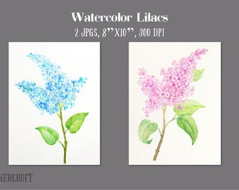 Watercolorlilacs pink and blue printable for wall decor greeting cards