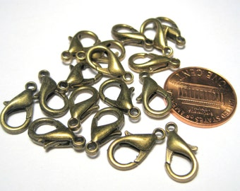 20pcs Antique Bronze Lobster Claw Clasps 14x7mm