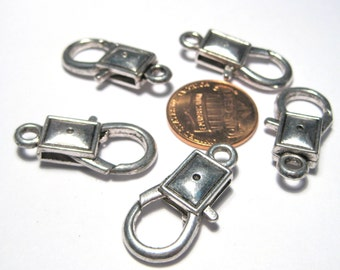 5pcs Antique Silver Rectangle Lobster Claw Clasps