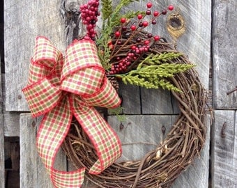Pine Christmas Wreath, Grapevine Wreath, Christmas Wreath, Winter Wreath, Country Christmas Door Hanging