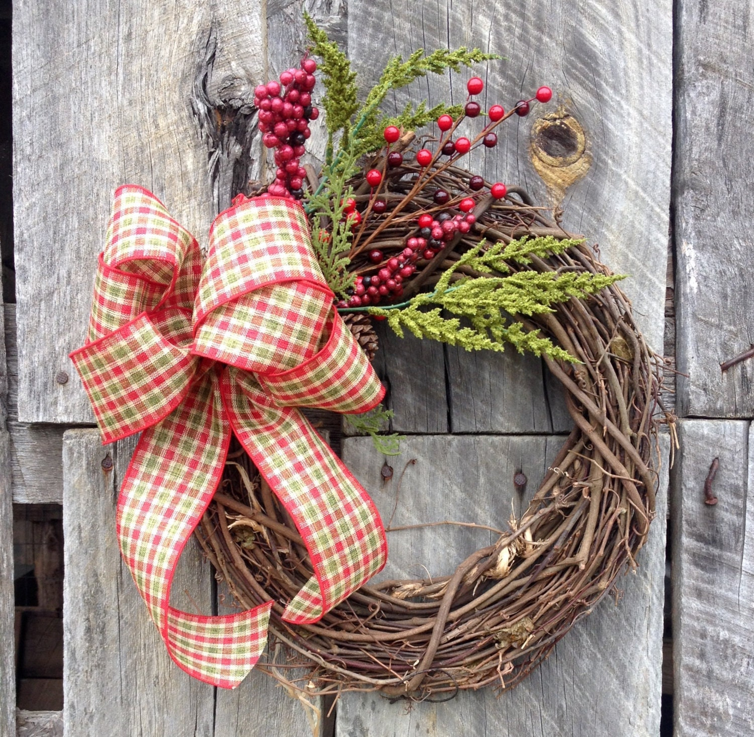Pine Christmas Wreath Grapevine Wreath Christmas Wreath
