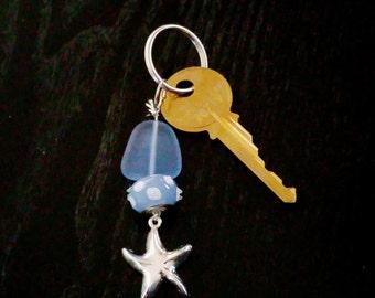 Ocean Blue Sea Glass Starfish Key Chain