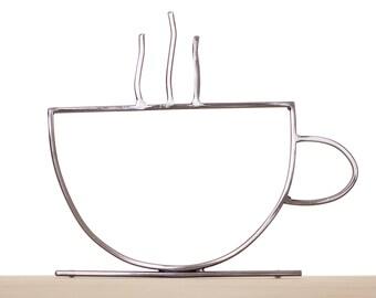 Metal Coffee Mug, Coffee Mug Outline, Metal Coffee Cup, Coffee Cup Outline, Metal Wall Art, Coffee Sculpture, Coffee Art, Coffee Lovers