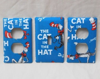 Cat in the Hat Light Switch Plate Outlet Plug Cover Custom Dr Seuss Cable Rocker Protective Plug Inserts