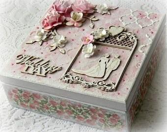 Mixed media wedding box , wedding treasury box , Wedding Day box , keepsake box , mixed media wooden box , pink box , pink roses