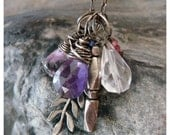 Oxidized Charm Necklace, Silver Charm Necklace, Amethyst Silver Necklace, Leaf Necklace, Layered Necklace, Handmade, Boho Necklace, Bohemian
