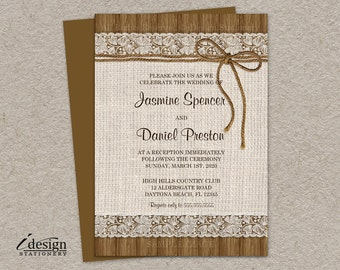 Rustic Wedding Reception Invitation, Burlap Wedding Reception Only Invitations, Printable Lace Wedding Reception Invitation, Rustic Wedding