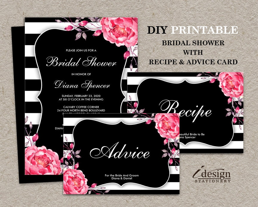 Bridal Shower Invitation With Recipe And Advice Card