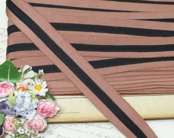 "1.00 Per Yard ~7/8"" ~ BROWN-MAUVE GROSGRAIN ~ 1930s 40s Art Deco Stripe Cotton Rayon Millinery Hat Trim Ribbon Men's Fedora Stetson"