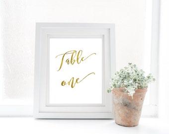 Table numbers, wedding, gold foil written script/ wedding sign/ wedding table/ wedding decoration/ wedding table number/ party decoration