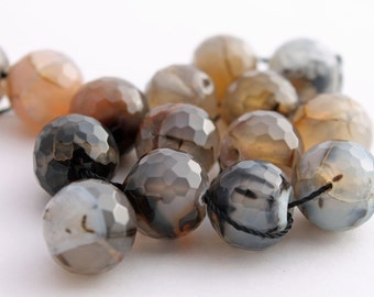 14mm faceted fire agate beads, 15 beads, 8 inches
