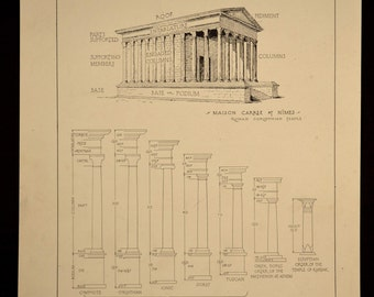 Column Print Order Details Greek Temple Antique Architectural