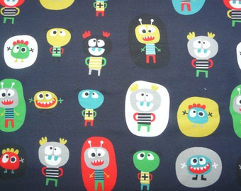 Fabric -  Cute monster print cotton jersey- navy blue