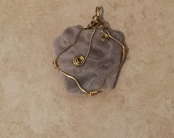 Petoskey with Gold Wire Wrapped Pendant