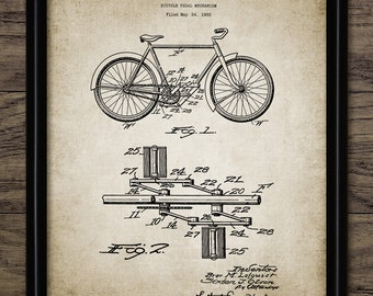 Bicycle Pedal Patent Print - 1934 Bicycle Pedal Design - Vintage Bicycle Wall Art - Cycling Equipment - Single Print #1509 -INSTANT DOWNLOAD