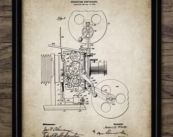 Vintage Movie Film Projector Patent Print - 1902 Kinetoscope Design - Motion Picture - Cinema - Single Print #955 - INSTANT DOWNLOAD