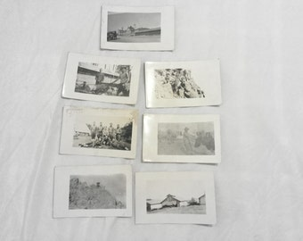 7 World War 1 Real Photo Postcard Soldiers AZO RPPC Desert Cow Yucca Buildings  Log Sawing