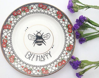 Bee Happy! Vintage painted illustrated plate with bumble bee art home decor trinket bowl