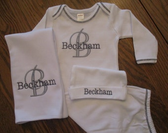 Monogramed Baby gown, Monogramed Baby Boy Gown,  Black Trim-Stitched Baby boy Gown Set
