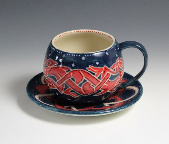 Celtic cup // hand made ceramic cup and saucer // blue and red cup