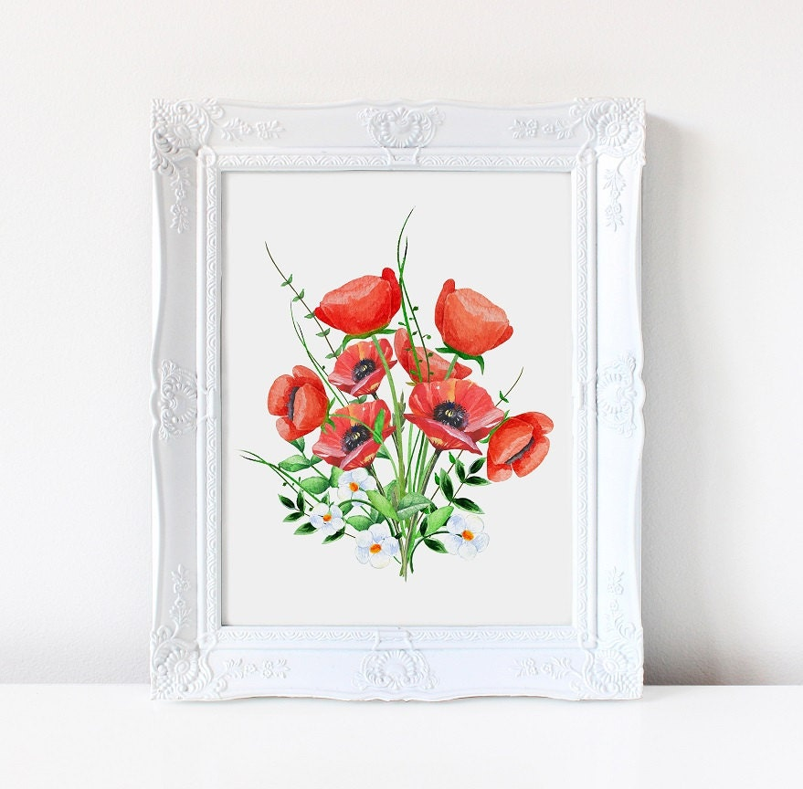Wall Art. Art Print. Poppies Poppy Floral. Nursery Print