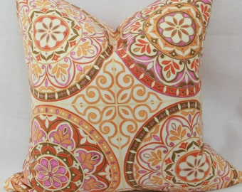 Orange pink decorative throw pillow cover 18 x 18 pillow cover Orange pillow 18x18 Pink pillow Orange pink pillow Waverly pillow cover