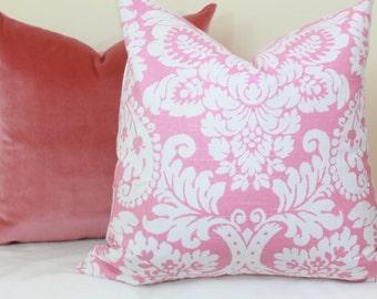 Pink white damask pillow cover 18x18 20x20 22x22 24x24 26x26 Pink euro sham Pink lumbar pillow 12x24 14x24 14x26 16x24 16x26 P Kaufmann