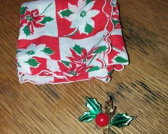 Vintage holly lapel pin with poinsettia handkerchief