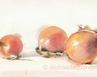 Onions still life. Original watercolour.