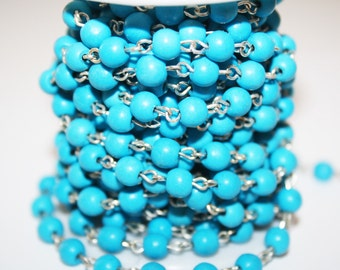 Rosary Chain, Turquoise Color Glass Round Beaded Chain, Turquoise Color Beads on Silver Color Links, - 6mm - 1 Foot - #530(29)