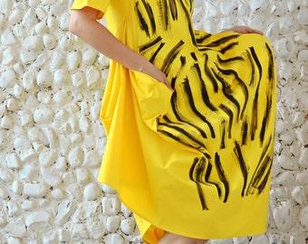 Yellow Funky Dress TDK193,  Extravagant Summer Dress, Asymmetrical Funky Dress with Handmade Painted Design