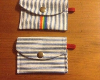 """Blue & White stripe Pouch (set of 2)         4 1/2"""" x 3 1/4"""" (opened 5 1/2"""")"""
