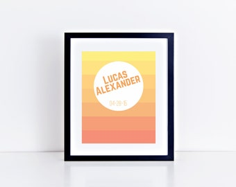 Custom Personalized Orange Ombre Nursery Print, Printable Art, Digital Print