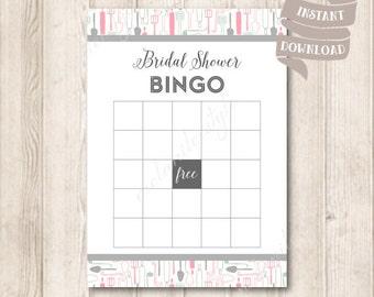 Kitchen Bridal Shower Bingo Game Card, Stock The Kitchen Bridal Shower Party Games Printable, INSTANT DOWNLOAD