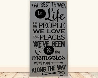 "The Best Things in Life Are the People...Wooden Vinyl Subway Art Sign 12""x 24"". Wood sign, family room sign, inspirational sign, family sign"