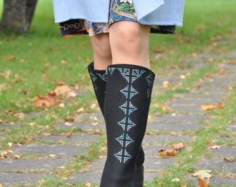 Woolen Leng Warmers, Long Leg Warmers, Boot Legs, Embroidered Long Leg Warmers