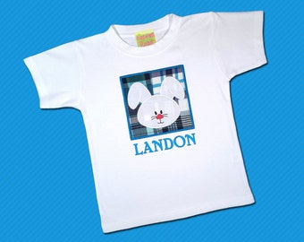 Boy's Easter Bunny Box Shirt with Embroidered Name - M7
