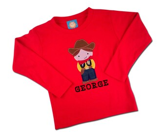 Boy's Red Western Cowboy Shirt with Embroidered Name