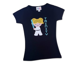 Girl Sword Wars Shirt with Embroidered Name