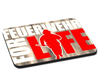 """MOUSEPAD printed with """"Feuerwehr for life"""""""