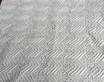 REDUCED! Handmade off white wool crochet afghan