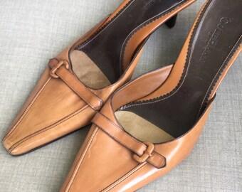 Cole Haan camel beige kitten heel slide women's shoes size 8 B