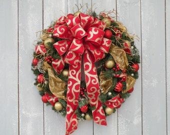 Christmas Wreath, Holiday Wreath, Winter Wreath, Designer Wreath, Home Decor, Front Door Wreath